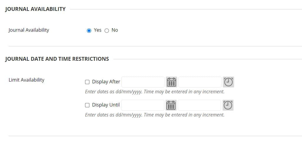 A screenshot of the Create Journal page of a Blackboard Module Site. The Journal Availability setting is shown with the option to set to Yes or No. The Limit Availability option is shown with date and time fields for Display After and Display Until.