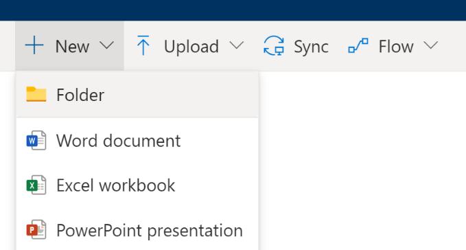 Create 'New' menu in OneDrive.