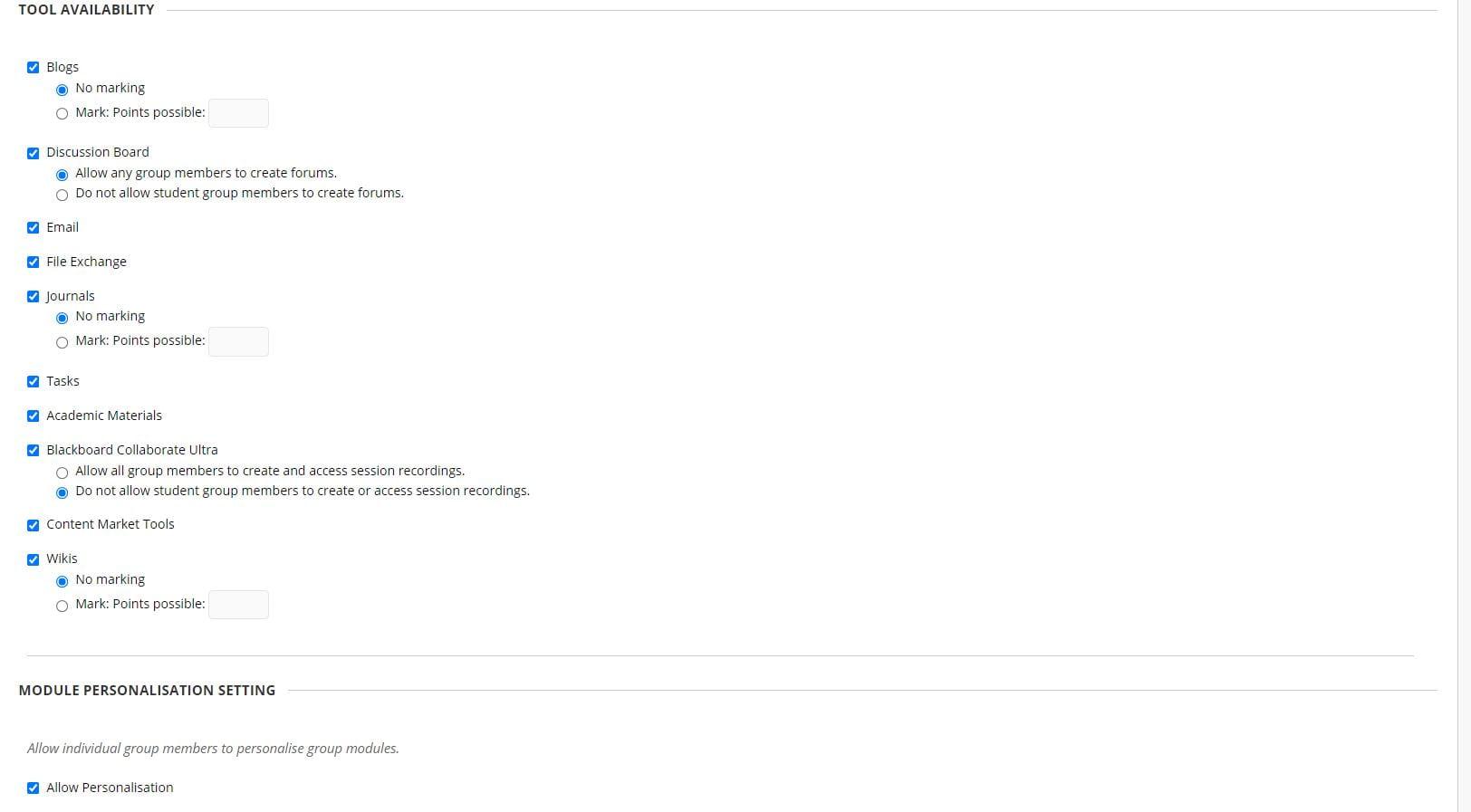 A screenshot of the 'Create Self-Enrolment Group Set' settings area of Blackboard.