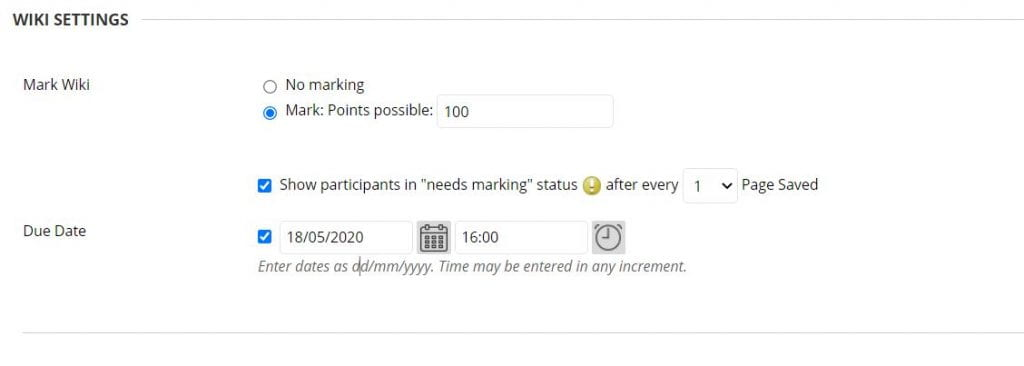 A screenshot of the Create Wiki page of a Blackboard Module Site. The Wiki Availability setting is shown with the option to set to Yes or No. The Limit Availability option is shown with date and time fields for Display After and Display Until.