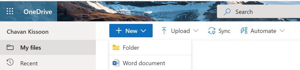 A screenshot showing how to click 'New' and 'Create Folder' to make a new folder on OneDrive.