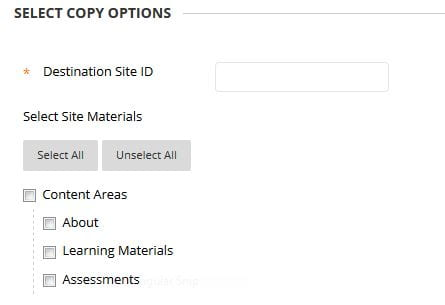 A screenshot showing the site copy options when wanting to copy a full site from one year to the next.