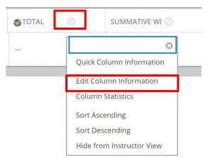 A screenshot of the Total Column in the full grade centre. The chevron arrow is shown next to the column title, the expanded menu shows the Edit Column Information option.