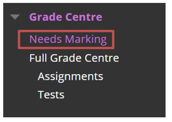 A screenshot of the Grade Centre menu in Blackboard. A red box highlights the Needs Marking option.