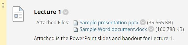 A screenshot showing various items included on a module site, and showing that you must select which items you wish to copy, such as PPTs and other documents.