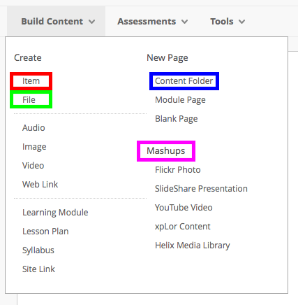 A screenshot showing the various options we recommend you use on the 'Build Content' menu including 'Item', 'File', 'Content Folder' and 'Mashups'.