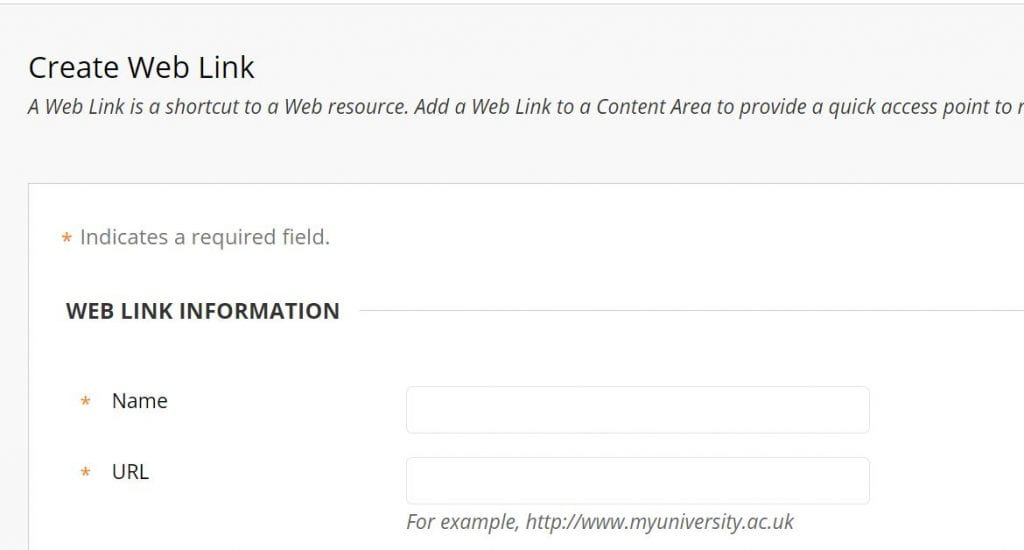 A screenshot showing the 'Create Web Link' option in Blackboard where you can add a name for your link and the URL.