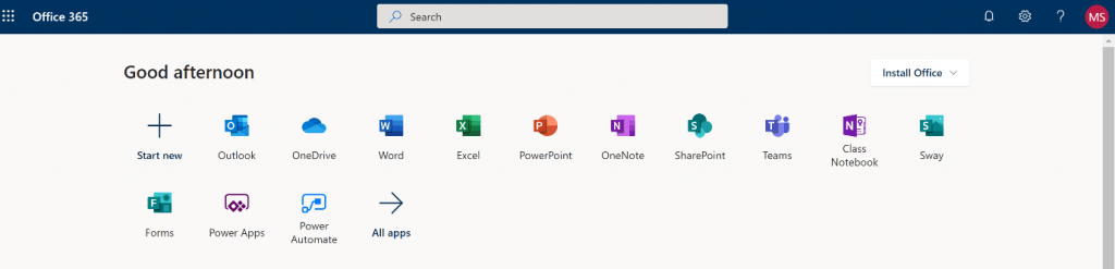 Office 365 homepage listing the apps available.  OneDrive is one of the options here.