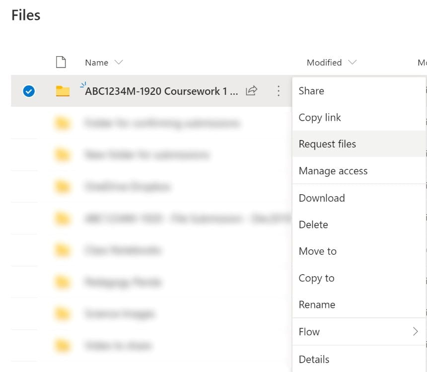 Folder options in OneDrive including 'Request Files'.