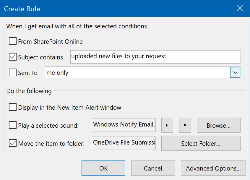 Create new rule options.