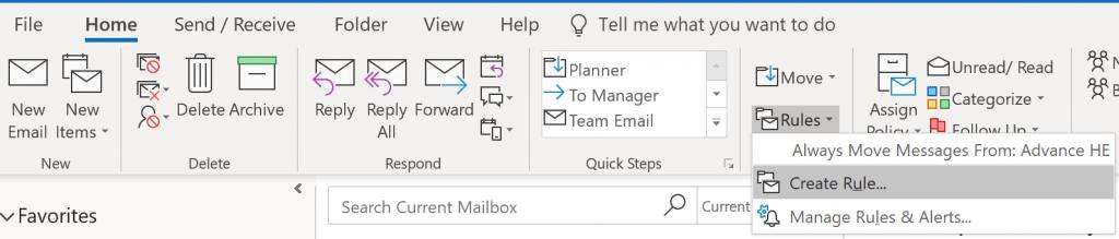 Outlook Home menu.