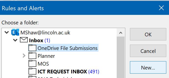 Selection of folders in Outlook.