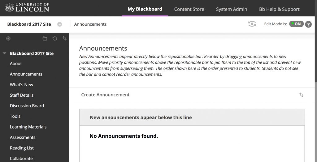 A screenshot showing a Blackboard module site without any announcements.