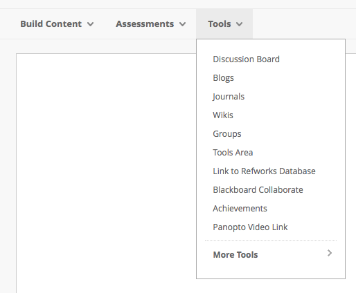 A screenshot of the 'Tools' menu from where you can add a number of digital tools for use on your Blackboard site.