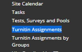 A screenshot showing the Turnitin Assignments menu item on the left hand navigation.