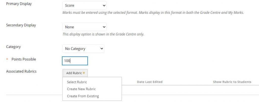A screenshot of the Create Column page of Blackboard, drop down boxes are shown for primary and secondary display and category. A points possible field is set to 100, and the Add Rubric menu is expanded.