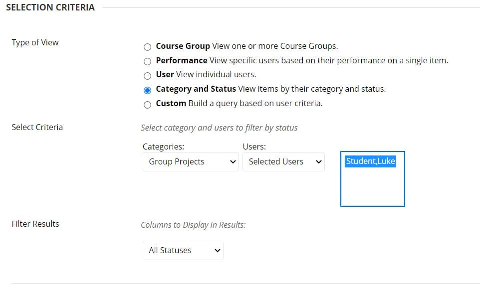 A screenshot of the selection criteria tab of the Create Smart View page. Three choices are presented: type of view, select criteria and filter results.