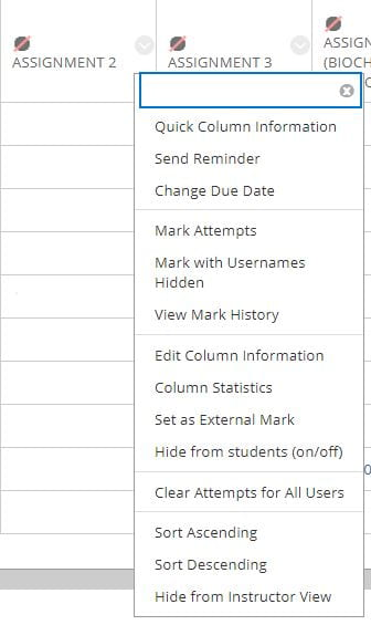 A screenshot of the Full Grade Centre in Blackboard, the chevron arrow next to an assignment title is expanded to reveal a menu, the Edit Column Information is the seventh option in the list.