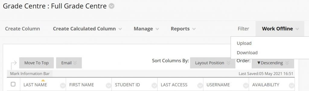 A screenshot of the Blackboard Grade Centre, the Work Offline tab is expanded to reveal two options: upload and download.