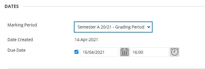 A screenshot of the Edit Column Information page for a Blackboard Assignment. The Dates section is shown the dropdown box for grading period has a Semester A period selected.