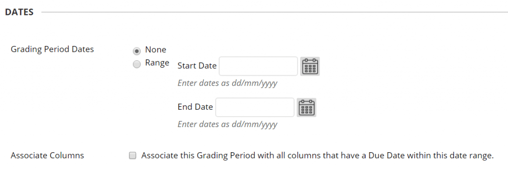 A screenshot of the Create Marking Periods page, the date section is shown with a field for start and end date, there is also a checkbox to associate the grade centre columns based on due date.