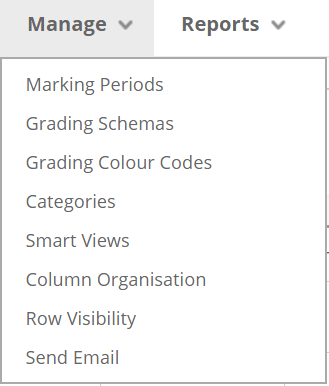 A screenshot of the Manage tab in the Full Blackboard Grade Centre. The expanded menu shows a list of options, the top option is Marking Periods.
