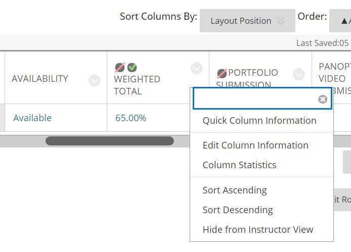 A screenshot of the Grade Centre in Blackboard. A weighted column is shown, the chevron arrow to the right of the title is selected to display list of options. Edit column information is listed.