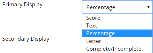A screenshot of the weighted column creation page. The Primary Display drop-down box is shown and the percentage option is highlighted in blue.