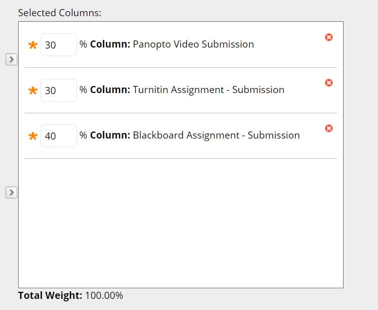 A screenshot of the weighted column creation page, three assessments have been moved into the Selected Columns window, they have percentages which add up to 100.
