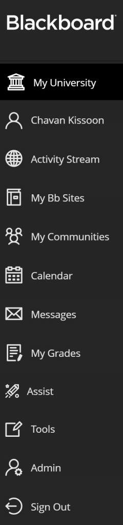 Lef-hand side navigation menu on Blackboard