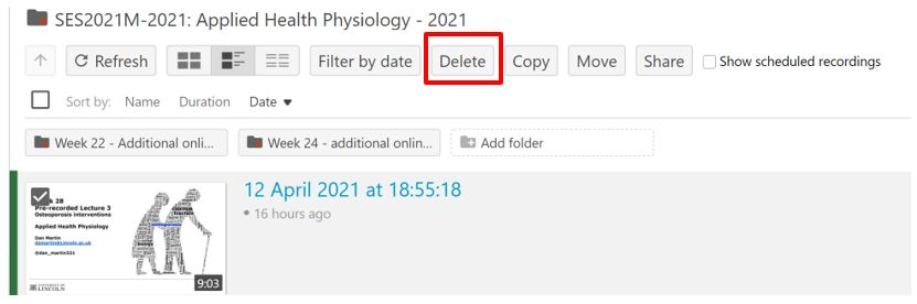 Highlight of the delete button on Panopto