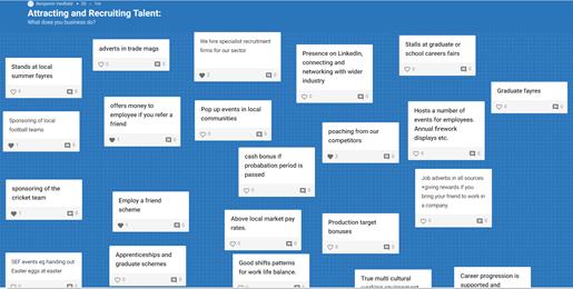 Screenshot of students answers via padlet
