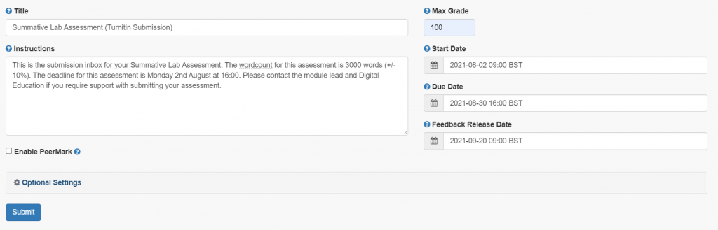 A screenshot of the Turnitin Assignment set-up page. The title, description and maximum grade fields are shown, as well as the, start, due, and feedback release dates.