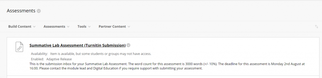 A screenshot of a Turnitin Submission point, created by the new Turnitin LTI, displayed as a content link on the Blackboard assessments page. The title and description of the submission are shown, and the title is hyperlinked to the assignment inbox.