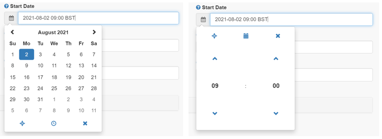 A screenshot of the Turnitin LTI Start Date configuration windows. The left menu shows a calendar and the date August 2nd 2021 selected. The right image shows the time 9AM displayed as hours and minutes that can be increased or decreased using up and down arrows.