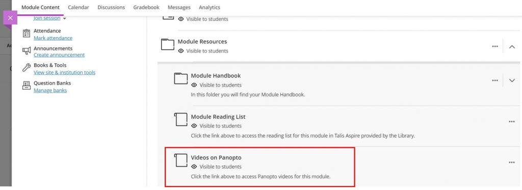 A screenshot of a Blackboard Ultra Course. The Module Resources folder is shown and expanded to reveal a list of content items, a 'Videos on Panopto' link is highlighted by a red box.