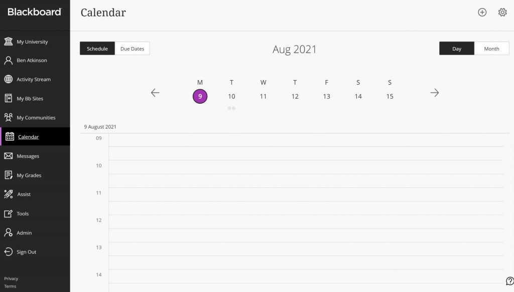 The Blackboard Calendar shows all upcoming deadlines and other date related content. Staff can also add content to the calendar for students on their modules.