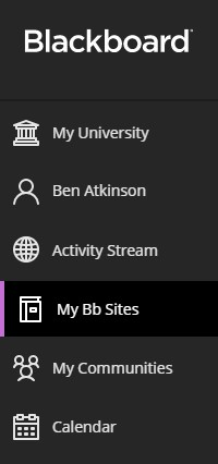 The main navigation in Blackboard, including the My Bb sites button.