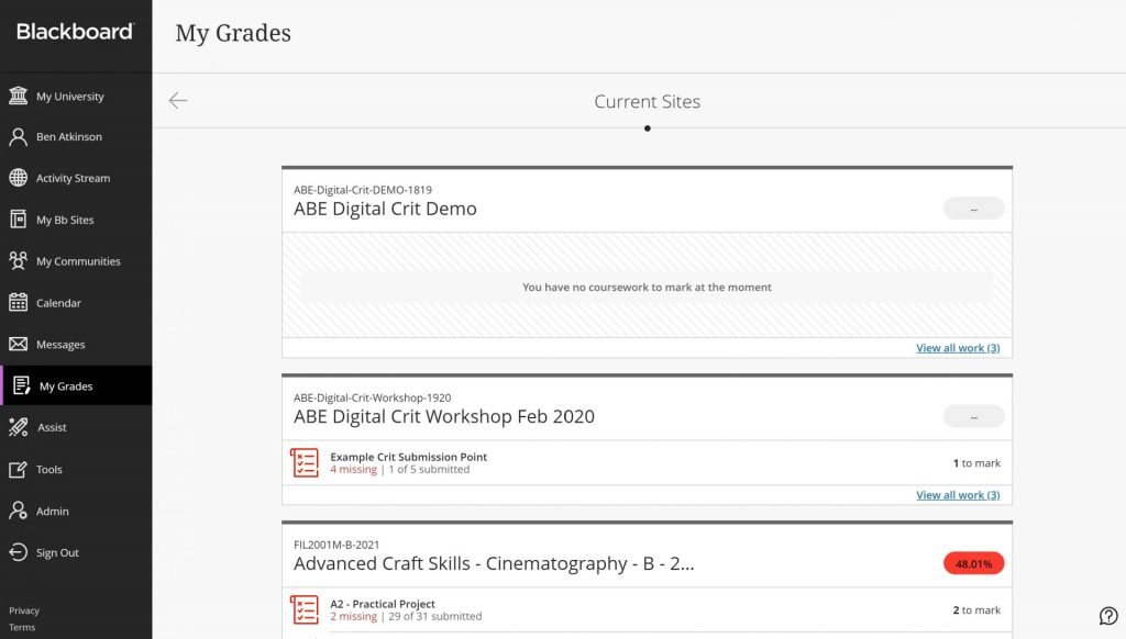 My Grades is a page where students can see all their grades from submissions across module sites, and staff can see work that needs to be marked.