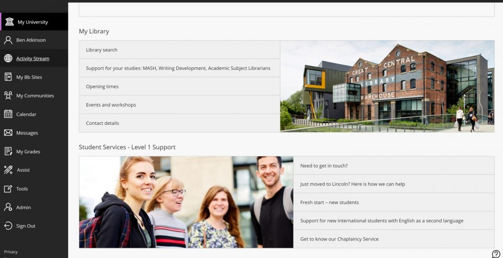 The My University page within Blackboard shows content to staff and students dependent on their role and year of study.