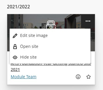 Open site button on the module site menu.