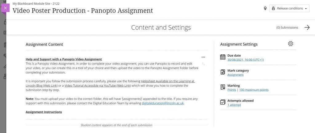 A screenshot of a Blackboard Assignment. The Assignment is titled Panopto Video Poster Production. The centre of the screen contains a text box of instructions for students to follow. On the right hand side there are the assignment settings which include, in order, the due date, category, marks available and number of attempts.