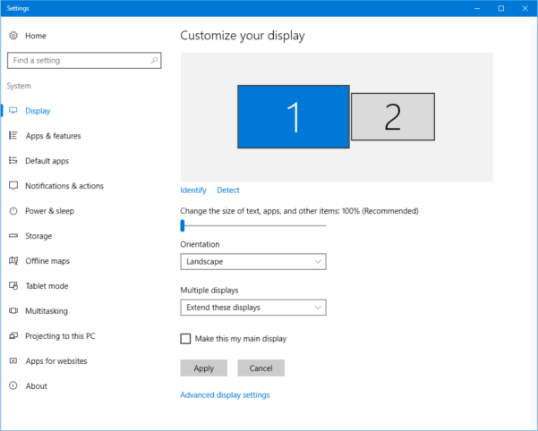 An image of the display settings menu