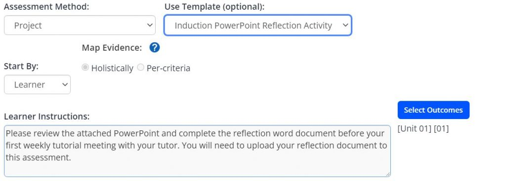 A screenshot of the Add Task menu within an Activity Plan. Two drop down boxes are shown, one is assessment method, the second is use optional template. The assessment method is set to project and a template has been selected. The learner instructions text box has been populated using the template, the start by drop down box is set to learner, and the map evidence selection is set to holistically.