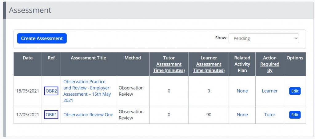 A screenshot of the Assessments tab in the Learner Portfolio. A create assessment button is shown, and a table is displayed with two assessments. The assessment title, method, assessment time, related plan and action required by are shown.