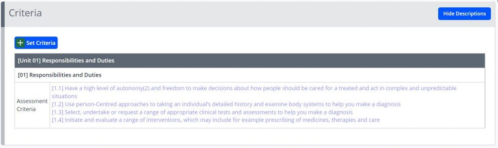 A screenshot of the criteria tab from the create assessments page. The selected criteria are shown in a faint blue text.