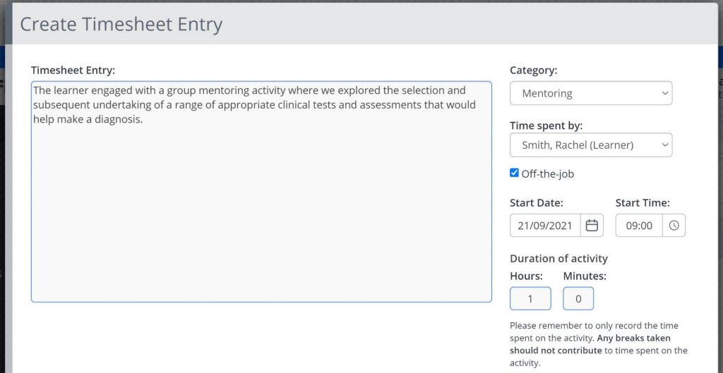 A screenshot of the Create New Timesheet Entry window. A text box is shown to describe the entry being made, and the following fields: category, recorded by, off the job, start date, start time, duration hours and minutes.