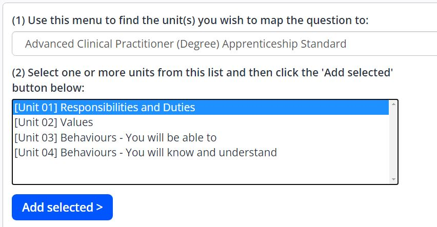 A screenshot of the Create Tutor Template page. This image shows the set criteria menu. A drop-down box shows the learning aims available on the centre, and a list of the units are displayed. A blue add selected button is displayed below the list of units.