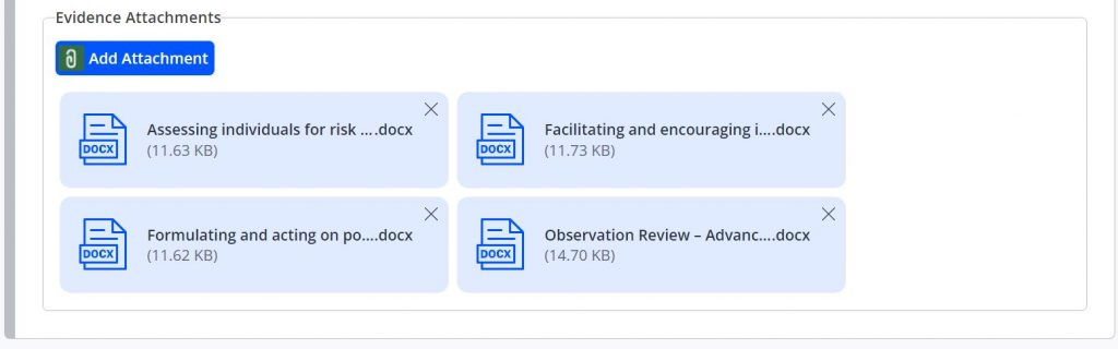 A screenshot of the Assessment page of One File when marking as a Tutor. This block shows a tab titled Evidence Attachments. Four word document icons are shown with their file titles and sizes displayed.