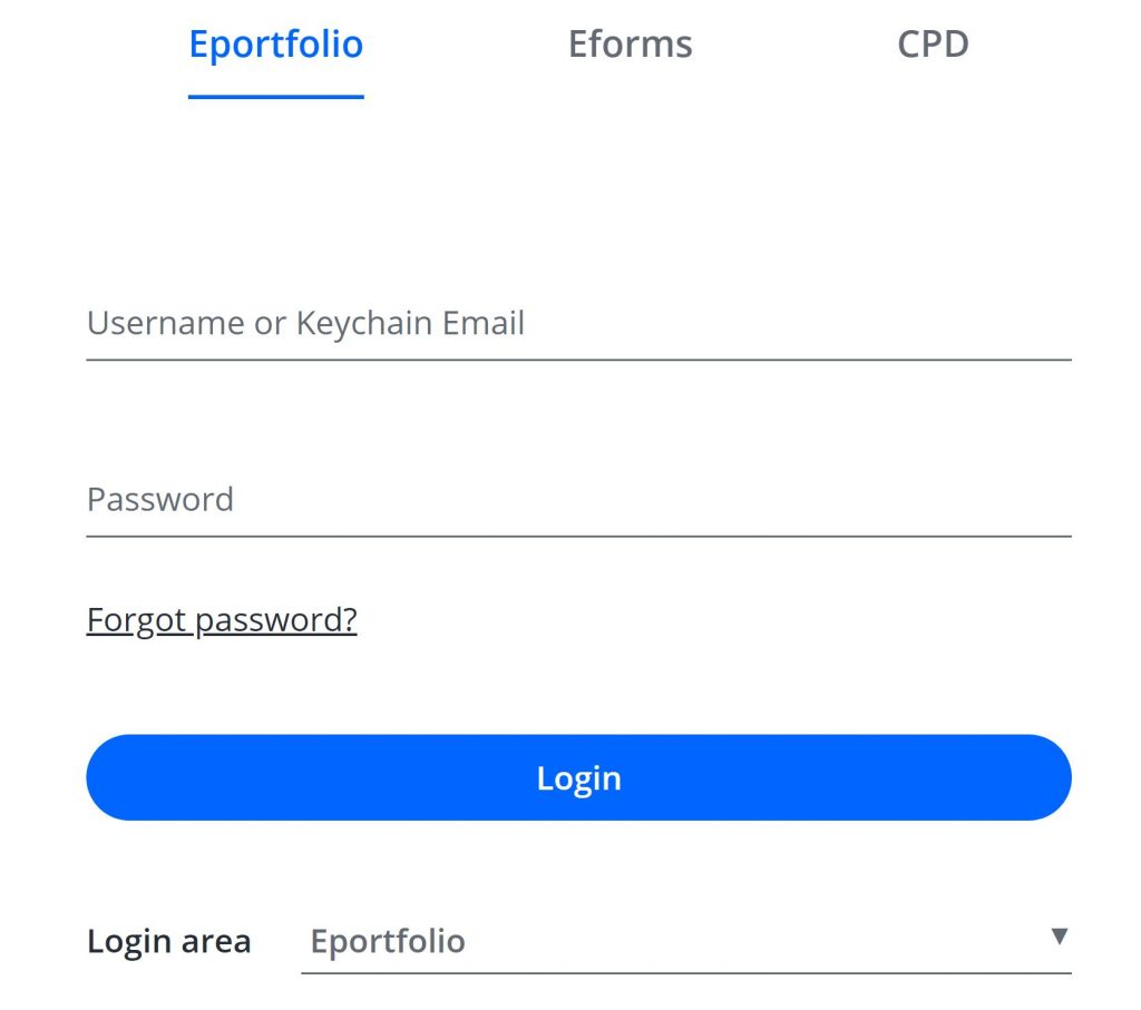 A screenshot of the One File login screen. Fields to enter the username and password are shown. At the top of the screen the Eportfolio option is selected, and at the bottom of the screen a login area drop-down box is set to Eportfolio.